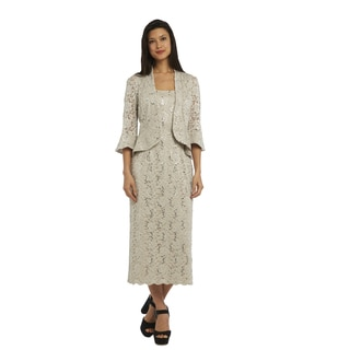R M Richards Women's Beige Nylon and Spandex Lace Jacket Dress