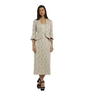 R M Richards Women's Beige Nylon and Spandex Lace Jacket Dress|https://ak1.ostkcdn.com/images/products/14230925/P20822062.jpg?impolicy=medium