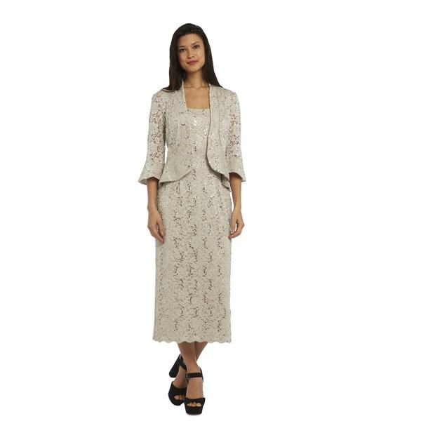 R & M Richards Women's Beige Nylon and Spandex Lace Jacket Dress