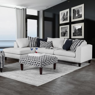 Feruca Contemporary Fabric Off-White Sectional by Furniture of America