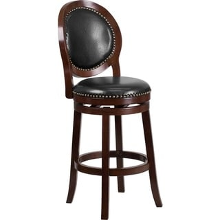 Offex 30'' High Cappuccino Wood Barstool with Black Leather Swivel Seat