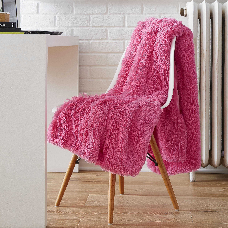Serta Reversible Retro Plush Shag Throw (Pink) (Polyester...