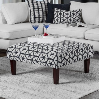 Feruca Contemporary Patterned Fabric Square Ottoman by Furniture of America