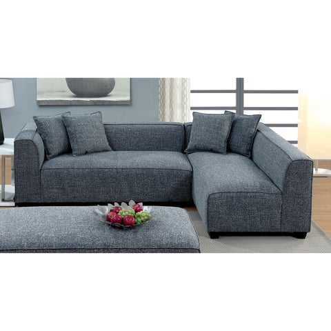 Merian Modern High Back Linen Grey Sectional by Furniture of America