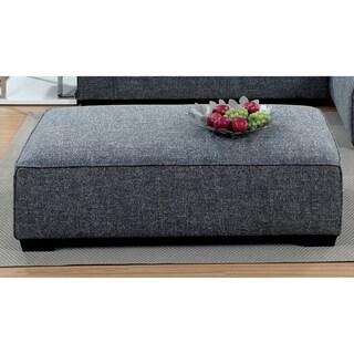 Merian Modern Welt Trim Linen Grey Ottoman by Furniture of America