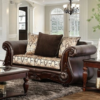 Gala Traditional Chenille Fabric/Faux Leather Brown Loveseat by Furniture of America