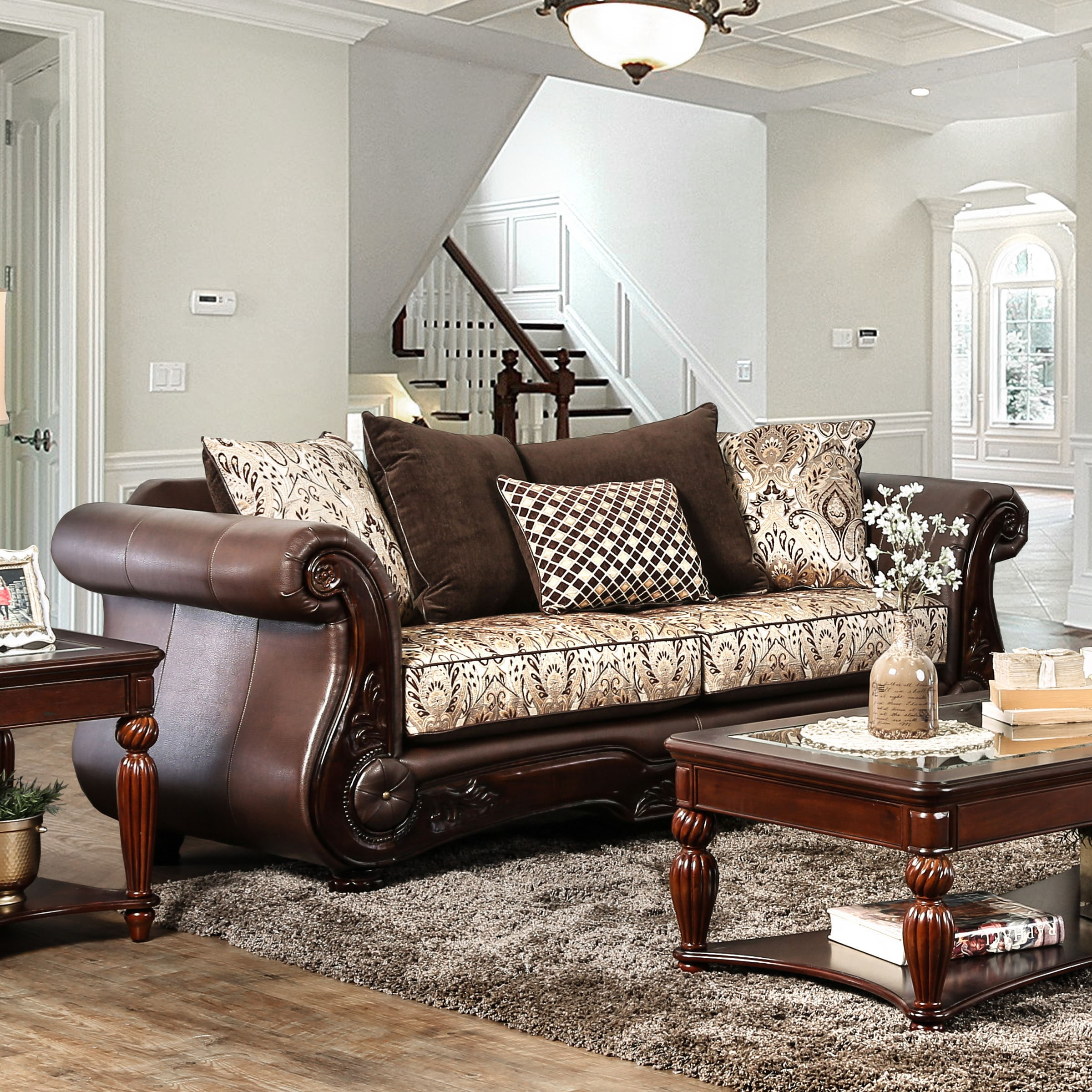 Gala Traditional Chenille Fabric/Faux Leather Brown Sofa ...