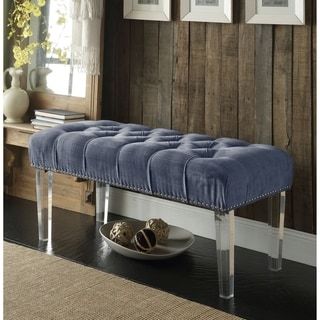 Chic Home Odette Button Tufted with Silver Nailhead Trim Blue Grey Ottoman Bench with Clear Acrylic Legs