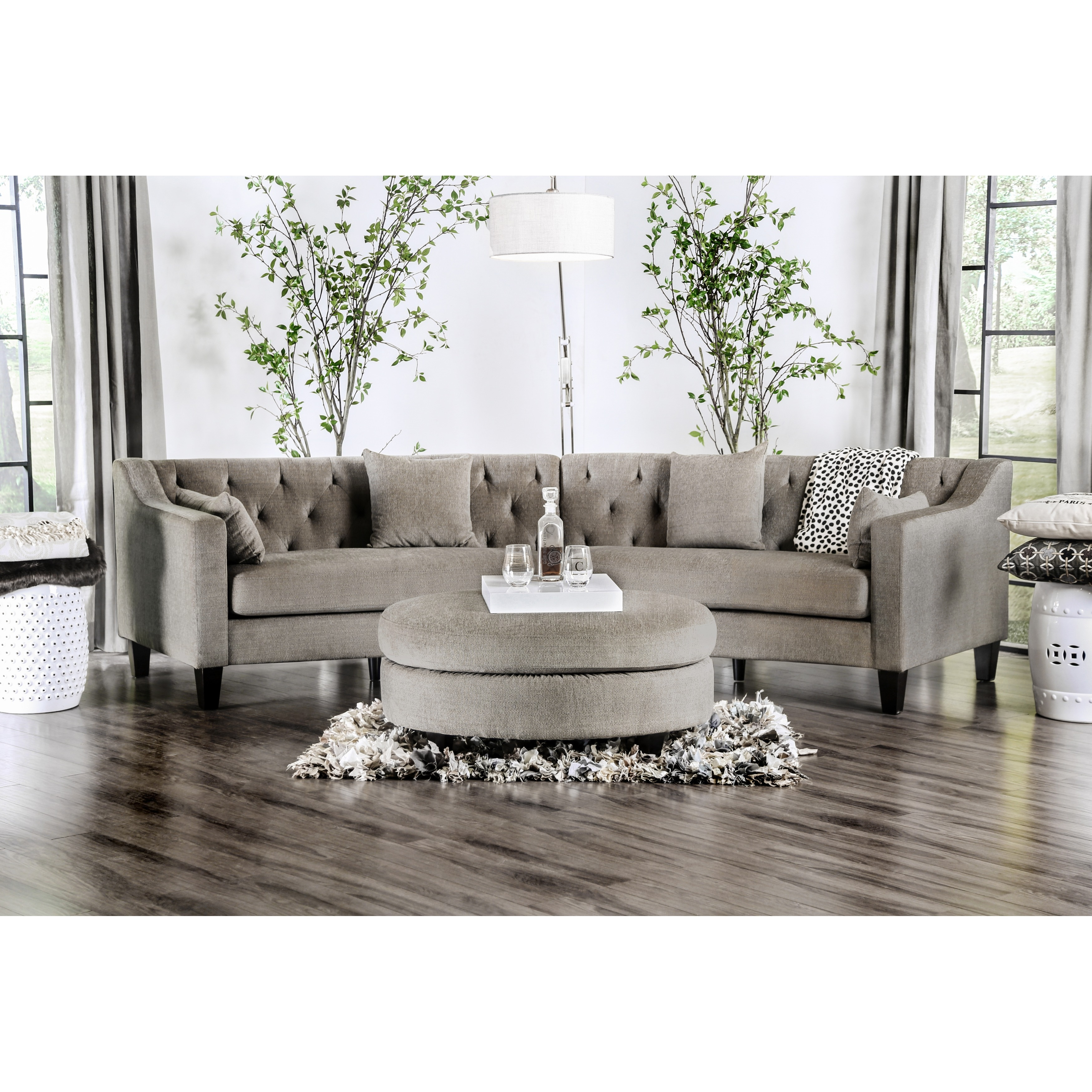 Beau Aretha Contemporary Grey Tufted Rounded Sectional Sofa By Furniture Of  America