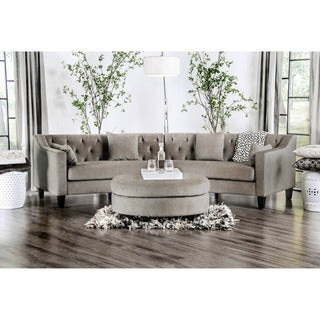 Aretha Contemporary Grey Tufted Rounded Sectional Sofa by Furniture of America