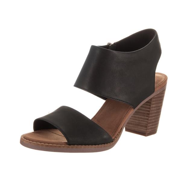 a4079a5da9b Shop Toms Women s Majorca Black Leather Cutout Sandals - Free ...