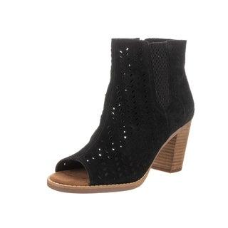 Toms Women's Majorca Peep Toe Black Suede Casual Shoes