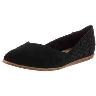 Toms Women's Jutti Black Suede Flat Casual Shoes