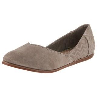 Tom's Shoes Women's Jutti Black Suede Flat Casual Shoes