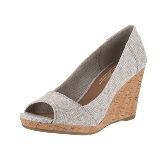 Toms Women's Stella Grey Textile Wedge Casual Shoes
