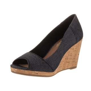 Toms Women's Stella Black Denim Wedge Casual Shoes
