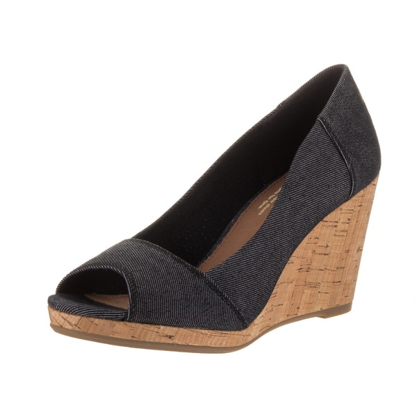 a12168f9d35 Shop Toms Women s Stella Black Denim Wedge Casual Shoes - Free ...