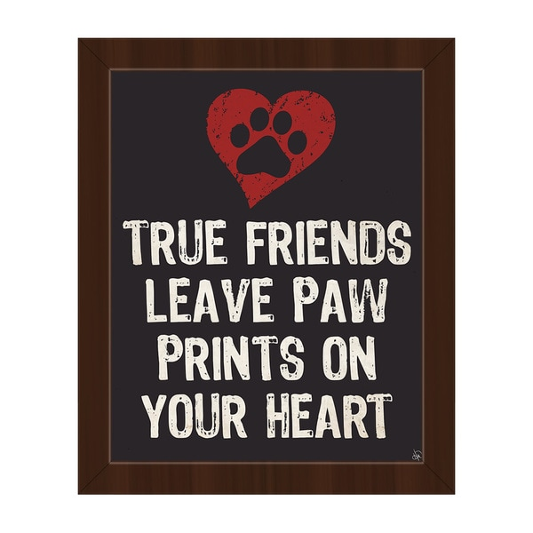 Paw Print Friends Red Heart Framed Canvas Wall Art