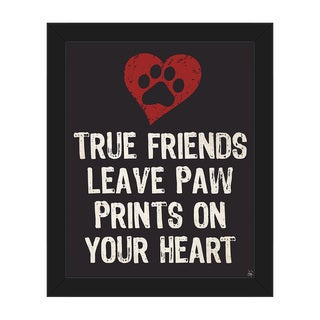 'Paw Print Friends' Red/Black Canvas Framed Wall Art Print