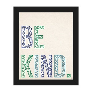Be Kind in Blue and Green Framed Canvas Wall Art
