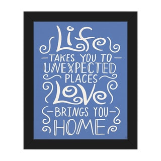 'Love Brings You Home' Blue Canvas Framed Wall Art