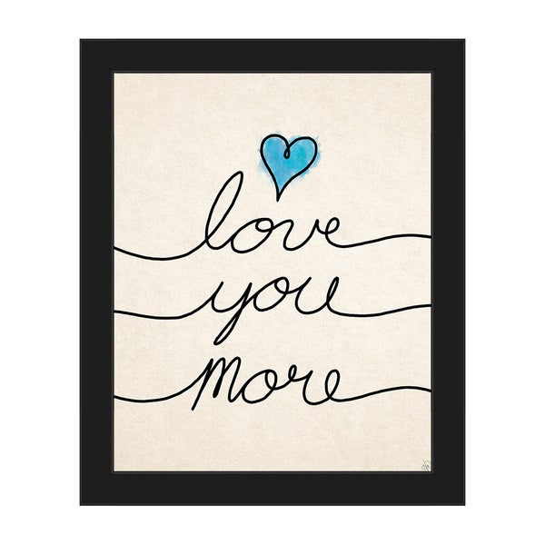 Love You More\' Blue Heart Framed Canvas Wall Art - Free Shipping ...