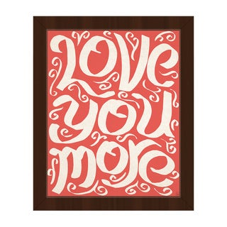 'Love You More' Red Canvas Framed Wall Art