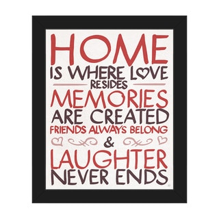 'Home is Where Love Resides' Framed Canvas Wall Art