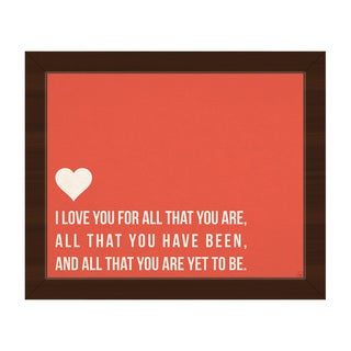 'I Love All That You Are' Red Canvas Framed Wall Art Print