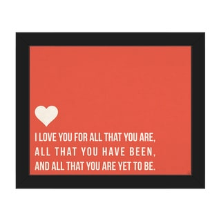 'I Love All That You Are' Red Canvas Framed Wall Art