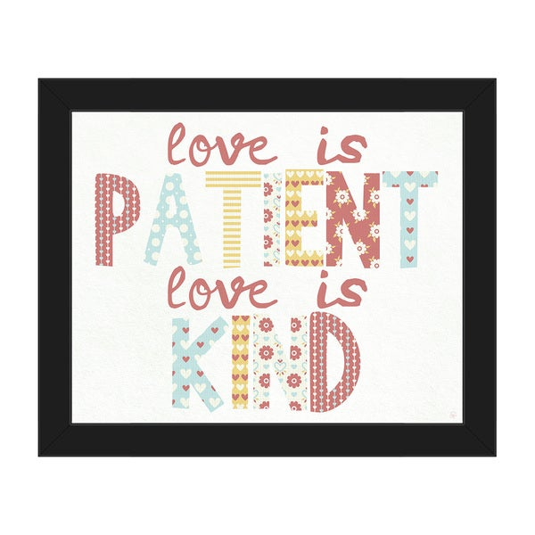 Love is Patient Love is Kind\' Baby Canvas Wall Art with Black Frame ...