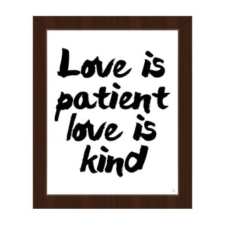 'Love is Patient Love is Kind' Canvas Wall Art with Espresso Frame