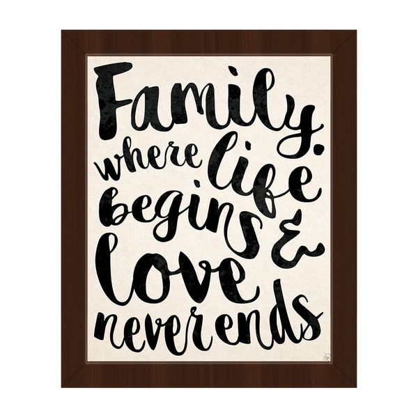 Family Life Begins, Love... Framed Canvas Wall Art