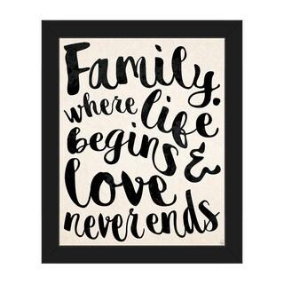 'Family - Where Life Begins Love Never Ends' Framed Canvas Wall Art