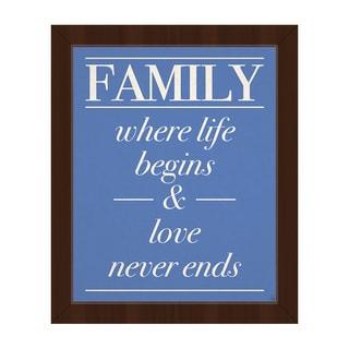 'Family Life Begins, Love…' Framed Canvas Wall Art