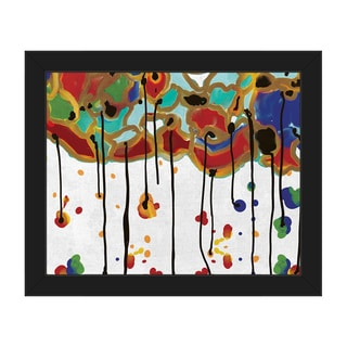 'Melting Colorful Trees' Framed Canvas Wall Art
