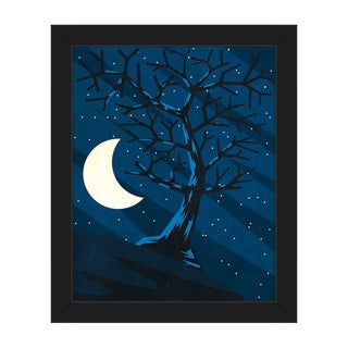 'Lonely Moon Tree' Framed Canvas Wall Art Print