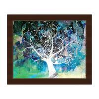 'Mottled Cerulean Willow' Canvas Framed Wall Art