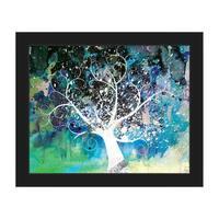 'Mottled Cerulean Willow' Framed Canvas Wall Art