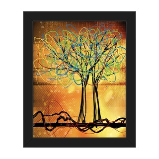 'Scribbled Trees' Framed Canvas Wall Art