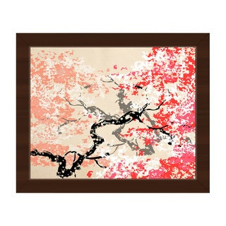 Red Cherry Blossom Abstract Framed Canvas Wall Art