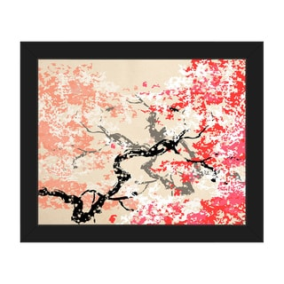 Red Cherry Blossom Black-framed Abstract Canvas Wall Art