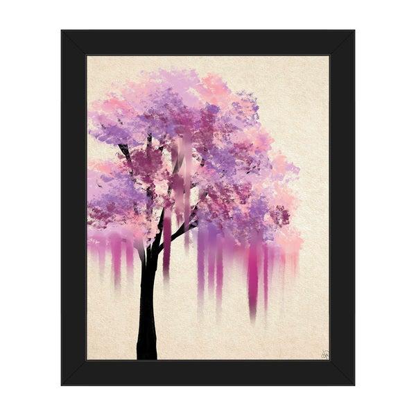 'Pink Melting Tree' Framed Canvas Wall Art
