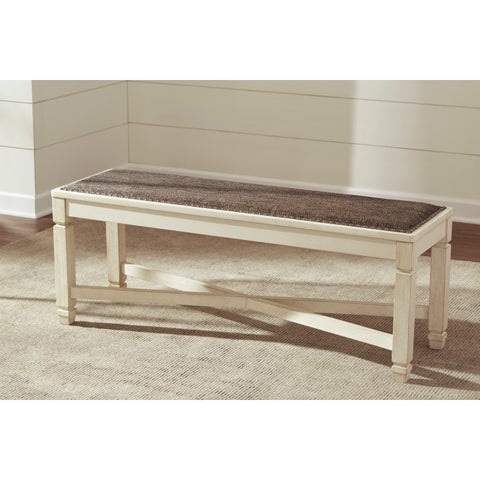 Signature Design by Ashley Bolanburg Two-tone Large Upholstered Dining Room Dining Bench