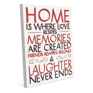 'Home is Where Love Resides' Red Canvas Wall Art
