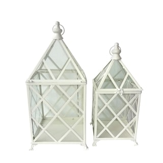 White Metal Lantern (Set of 2)