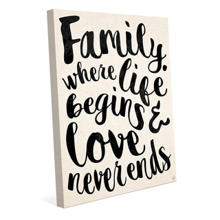 'Family Where Life Begins Love Never Ends' Stretched Canvas Wall Art