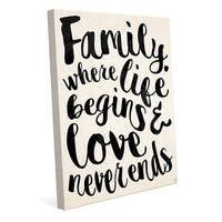 'Family Where Life Begins & Love Never Ends' Stretched Canvas Wall Art