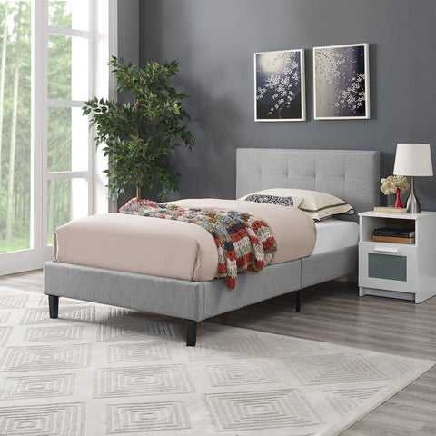 Modway Linnea Kids' Grey/Off-white Polyester Upholstered Platform Bed Frame