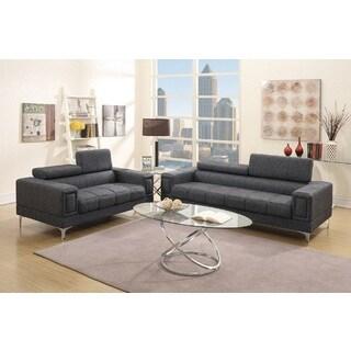 Walnut 2-PCs Sofa Set